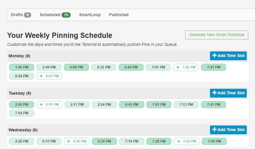 Tailwind Pinning Schedule