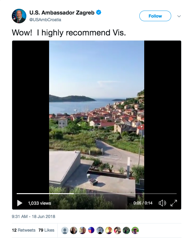 U.S. Ambassador Zagreb on Twitter: %22Wow! I highly recommend Vis.… %22 2018-06-22 13-14-38.png