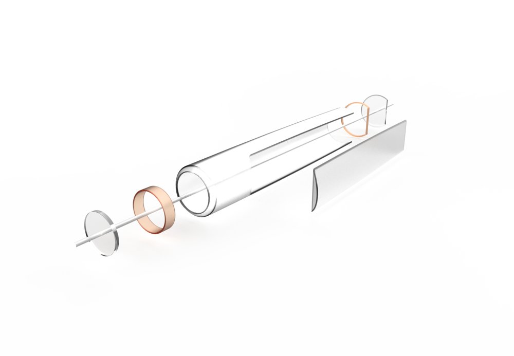 Assembly - The body is made of machined aluminum with copper rings to hold the lens in place.