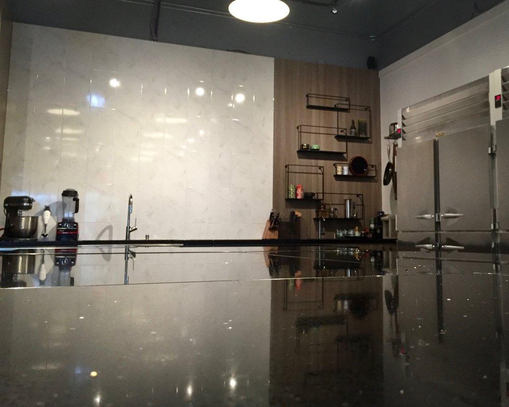 Designer space in kitchen studio