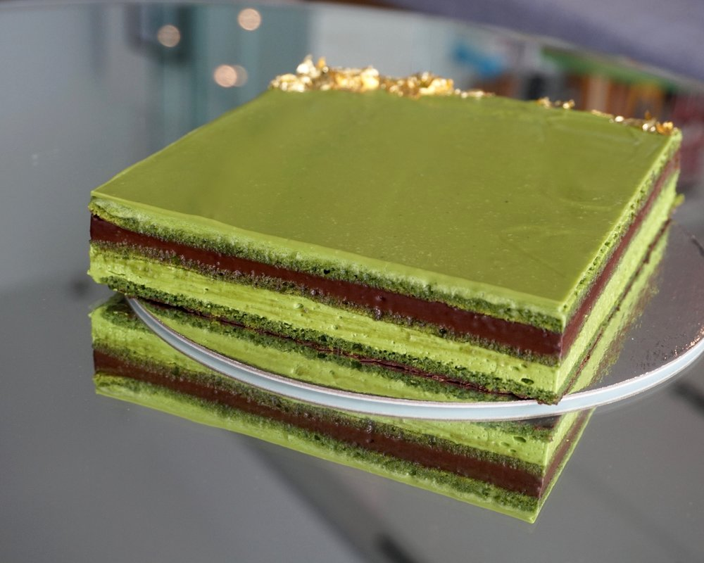 Matcha opera cake made by Gusta Cooking Studio