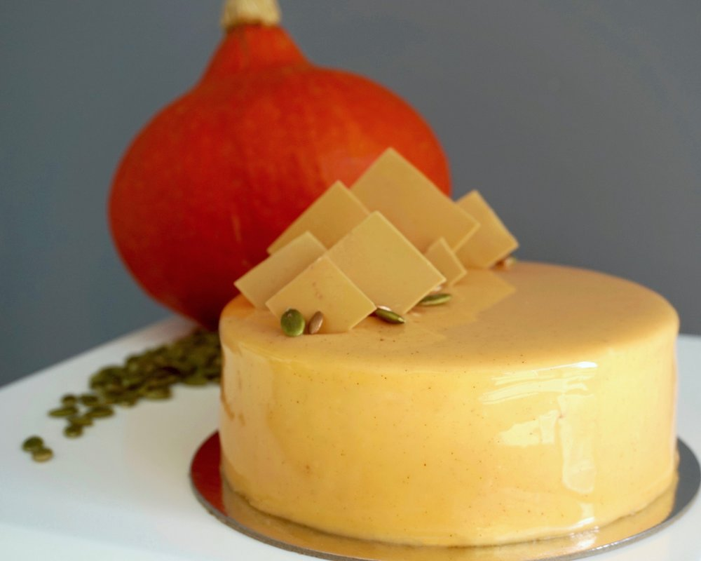 Pumpkin caramel entremet made by Gusta Cooking Studio