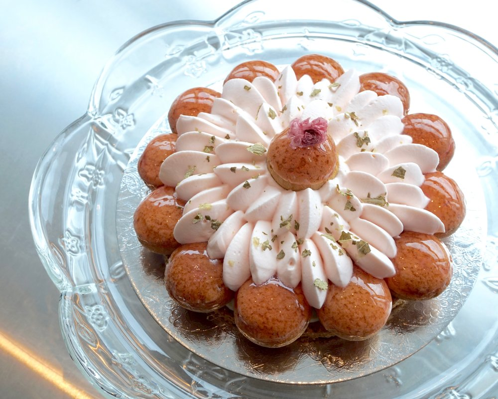 Sakura saint honore cake made by Gusta Cooking Studio
