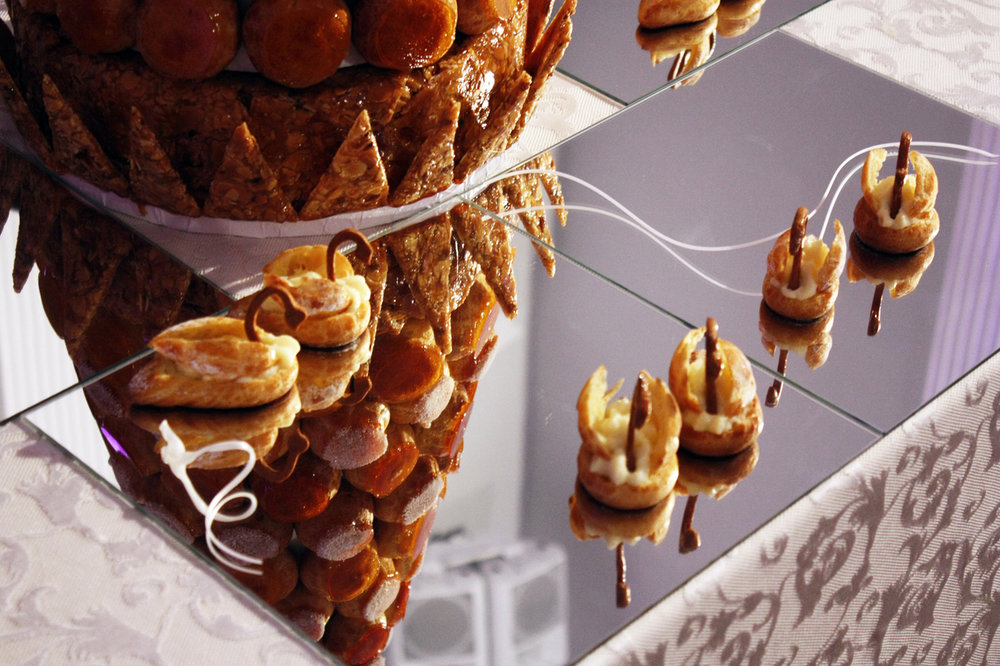 Croquembouche french wedding cake made by Gusta Cooking Studio