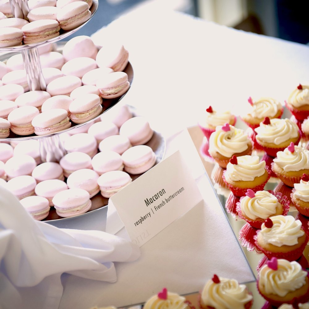Macarons cupcakes sweet table for wedding made by Gusta Cooking Studio