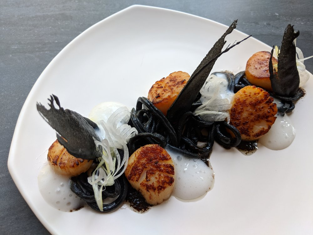 Charcoal Yaki-Udon, Koji-cured Scallops