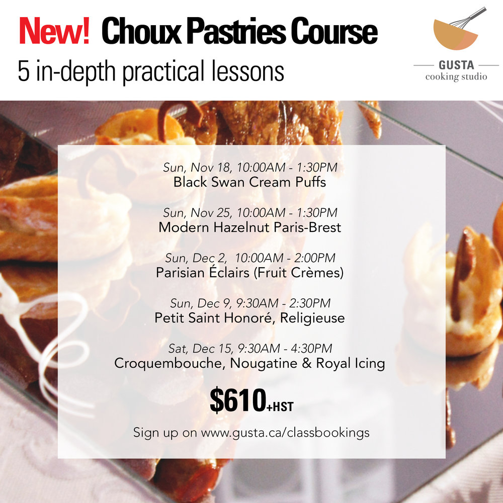 Choux pastry baking class at Gusta Cooking Studio