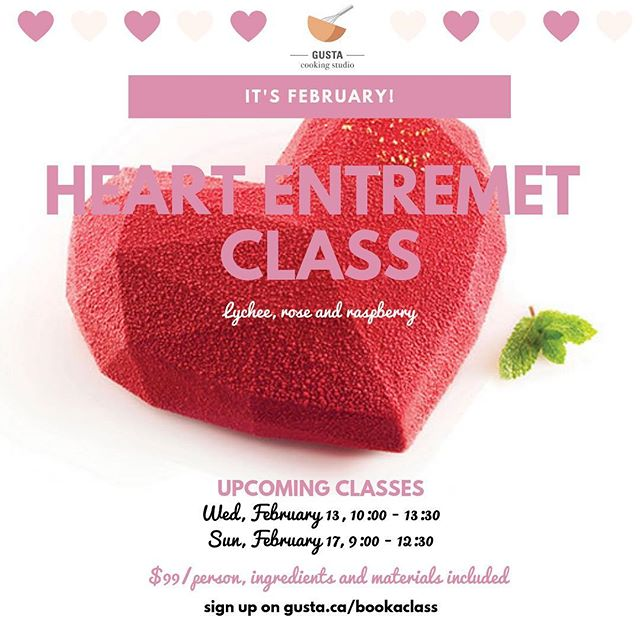 It's February!  Join us for two chic classes making the trendy heart shape entremet!  The sweet scent of lychee, rose and raspberry will make you fall in love with French pastry. . Sign up on www.gusta.ca/bookaclass . . . #silikomart #silikomartprofessional #pastry #patisserie #patissier #markhamcooking #markhambaking #torontocookingclass #markhamclass #entremet #cheflife #pastrychef #valentines #madeinitaly #bethefirstbeoriginal