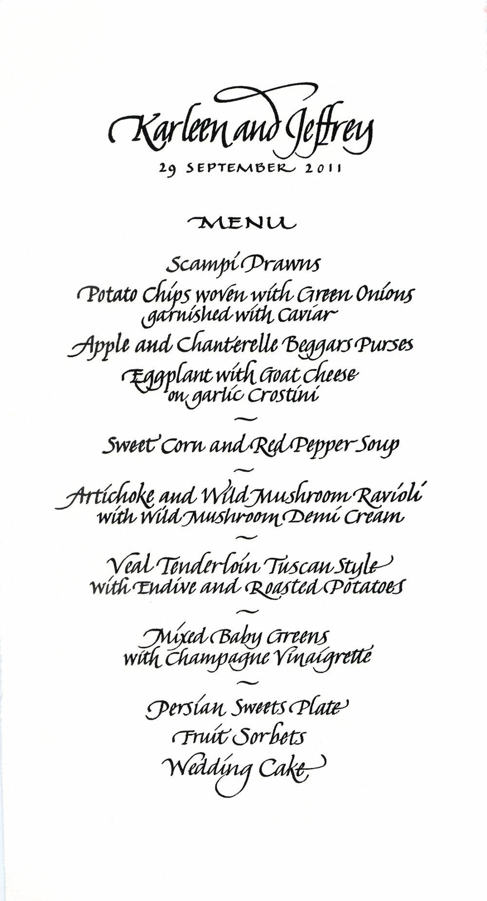 Letterpress menu