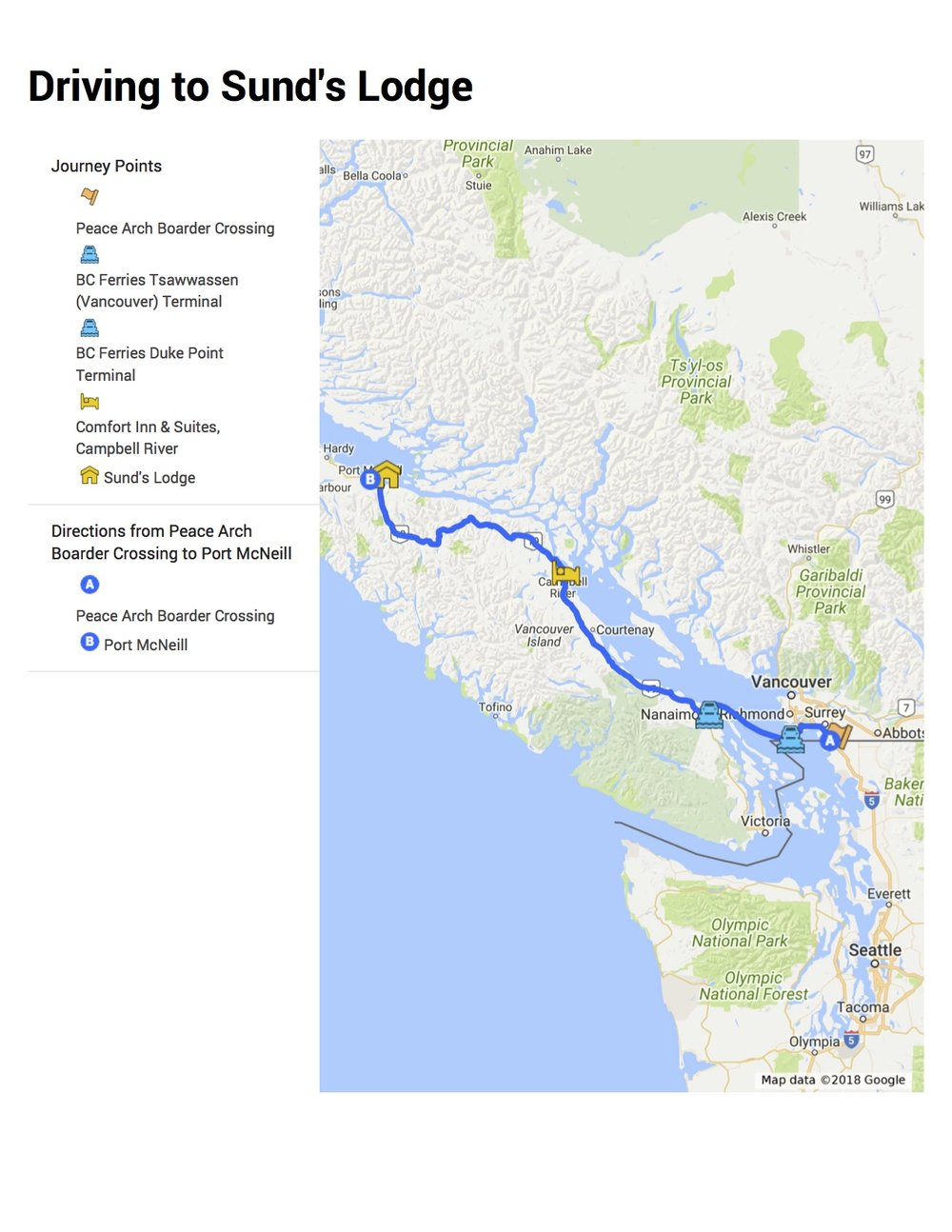 Google Map Driving from Peace Arch Border to Port McNeill, BC, Canada