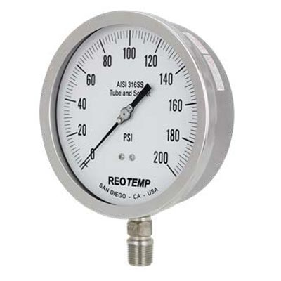 "4"" to 6"" Stainless Steel Pressure Gauge (PDF) -"