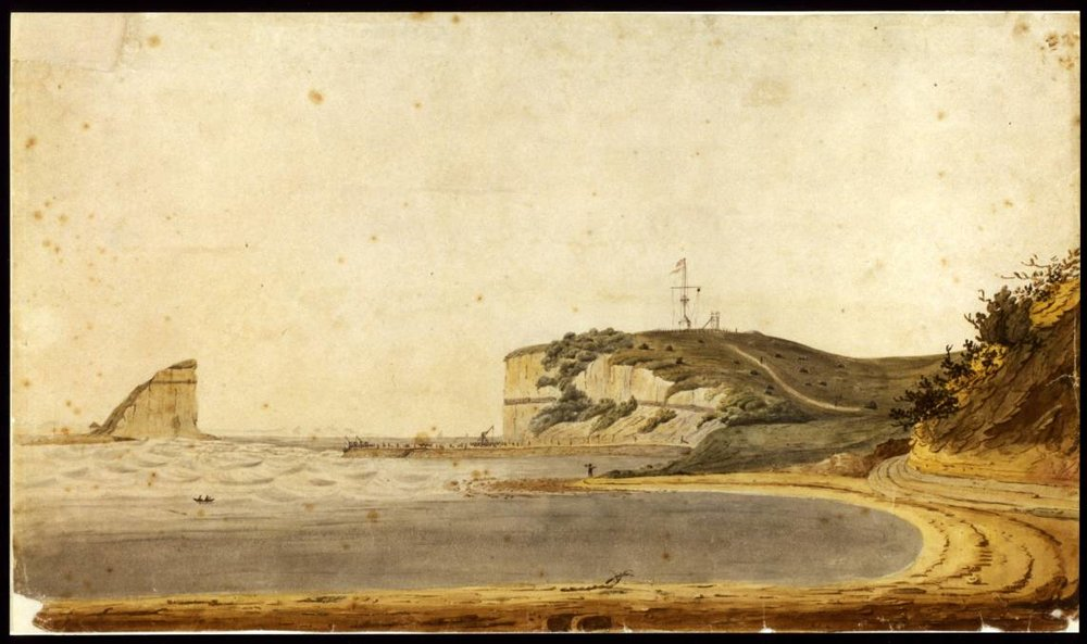 Nobby's Island & Pier 23 January 1820 (Anonymous artist). Courtesy of the State Library of NSW