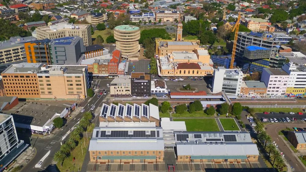 ACTION: An aerial shot showing the roof-top solar system installed on Newcastle Museum.