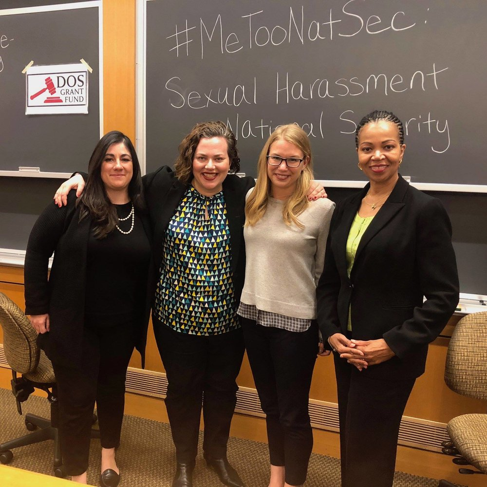#MeTooNatSec: Sexual Harassment in National Security  - Purple Campaign President Ally Coll Steele joined former U.S Ambassador, Gina Abercrombie-Winstanley, former State Department official and co-author of the #MeTooNatSec letter, Jenna Ben-Yehuda, Chan Zuckerberg Initiative Policy & Advocacy Fellow and former Obama Administration official, Mira Patel at Harvard Law School in a discussion on addressing sexual harassment within national security and what we must do to create harassment-free workplaces, both at home and abroad.