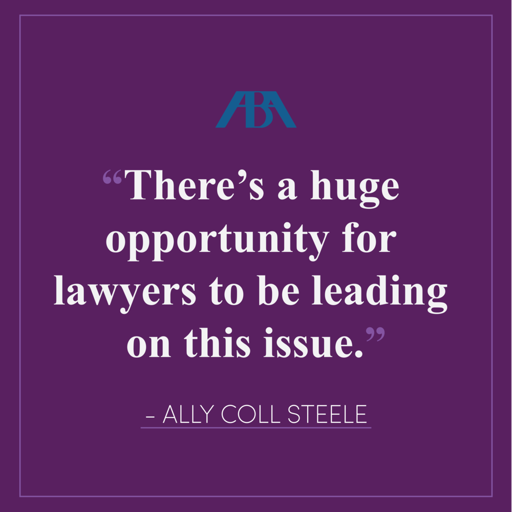 """Is Time Really Up for Sexual Harassment in the Workplace? Companies and Law Firms Respond - Purple Campaign President Ally Coll discusses how the legal community can help create a cultural shift concerning workplace sexual harassment. Read the full article here.""""There's a huge opportunity for lawyers to be leading on this issue,"""" says Coll, noting that in-house lawyers, for example, often take the lead on developing policies and practices. """"Law firms are often advising employers and clients on these issues, even for other law firms."""""""
