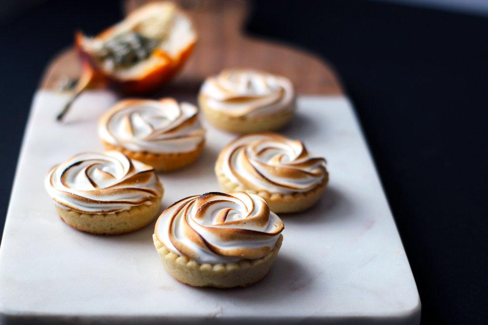 Passion fuit meringue tarts