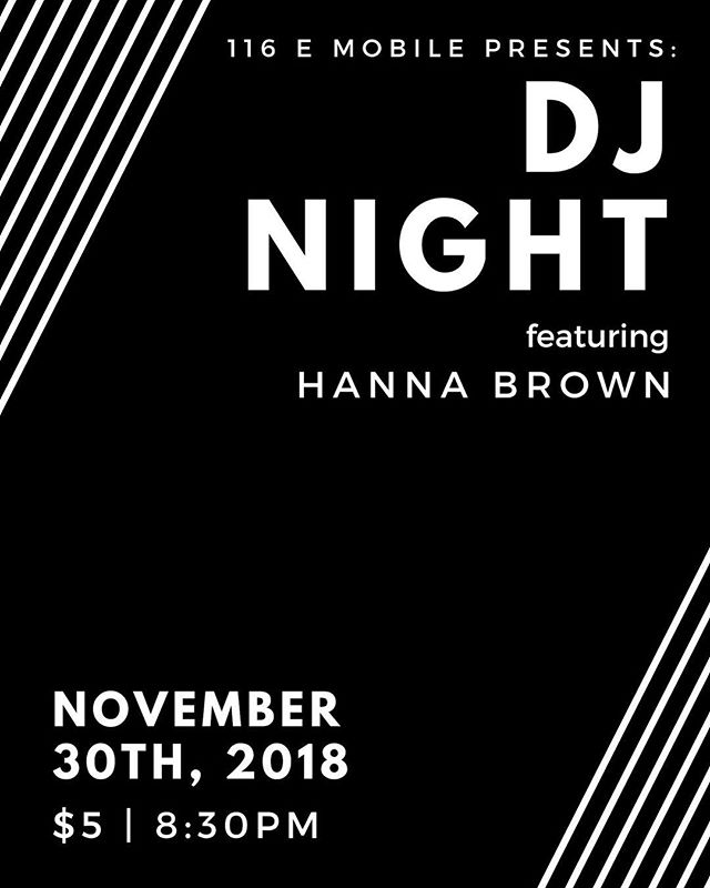 TONIGHT! DJ Night is back with special guest @hanna_brown_ ⭐️ Doors open and the party begins at 8:30PM! See you soon!!