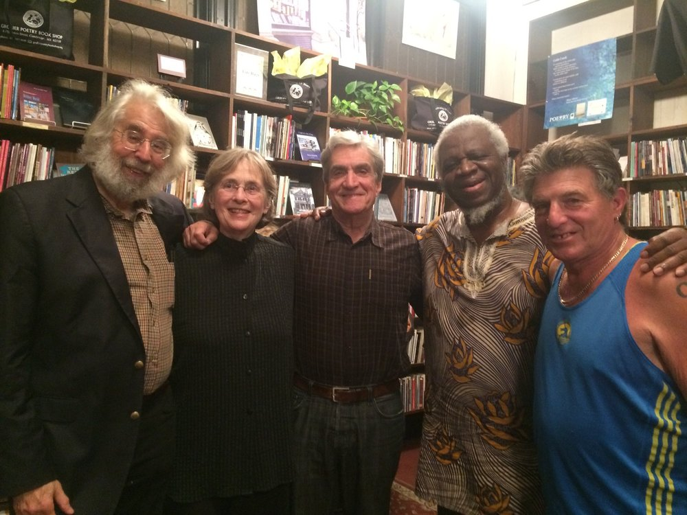The pictured poets all have been active in the poetry scene since the 1970's that was once centered around the Grolier Poetry Book Shop, the oldest poetry book store in the country. These five poets all have their photos displayed on the Book Shop Walls, although admittedly in much younger portraits.    From left to right, Poet, Professor, NPR Commentator and Pulitzer Prize winner Lloyd Schwartz; Black Smith House Poetry Reading founder and finalist for the National Poetry Award for Poetry Gail Mazur; Poet, Professor, translator of acclaimed edition of Dante's The Inferno,    US Poet Laureate Robert Pinsky; Poet, Professor and Owner of the Grolier Poetry Book Shop, Ifeanyi Menkiti; and Rhysling Award winner, Founder of Phone-a-Poem (1976-2001, now archived at Harvard's Woodberry Poetry Room) Cambridge Poet Populist Peter Payack.