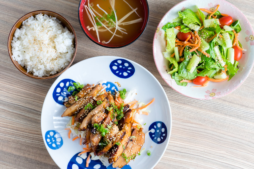 Chicken Teriyaki with Rice, Miso Soup and Salad