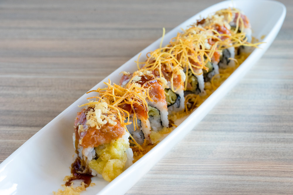 Shrimp Tempura Roll Topped with Spicy Tuna Flakes