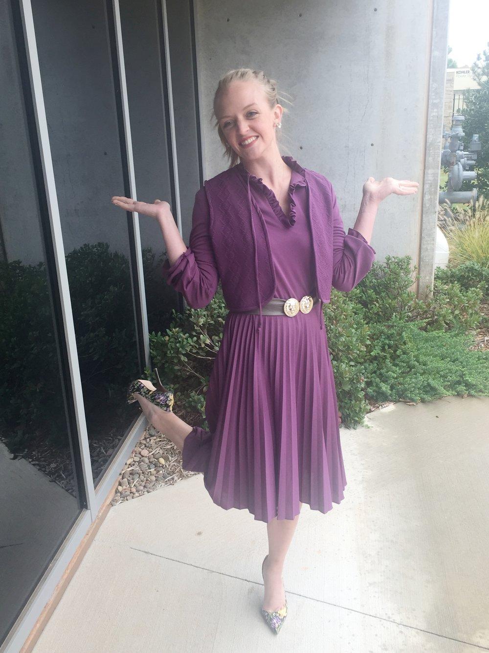 Vintage purple pleated vest dress
