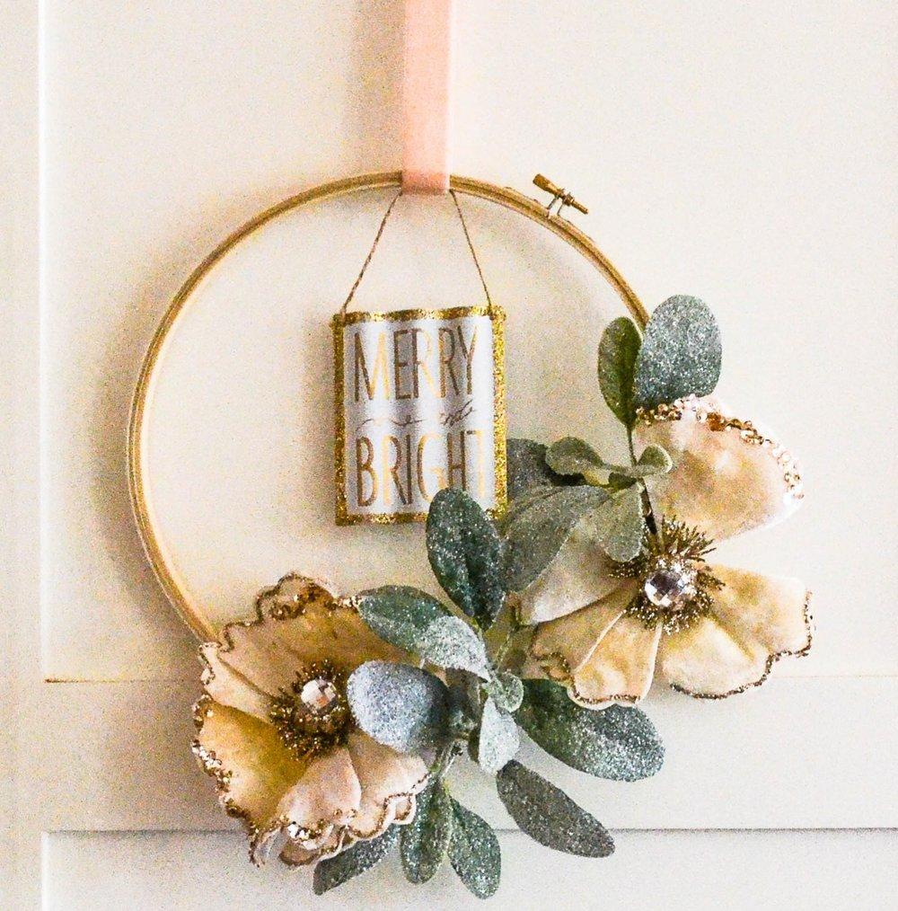 hanging embroidery hoop floral arrangement diy