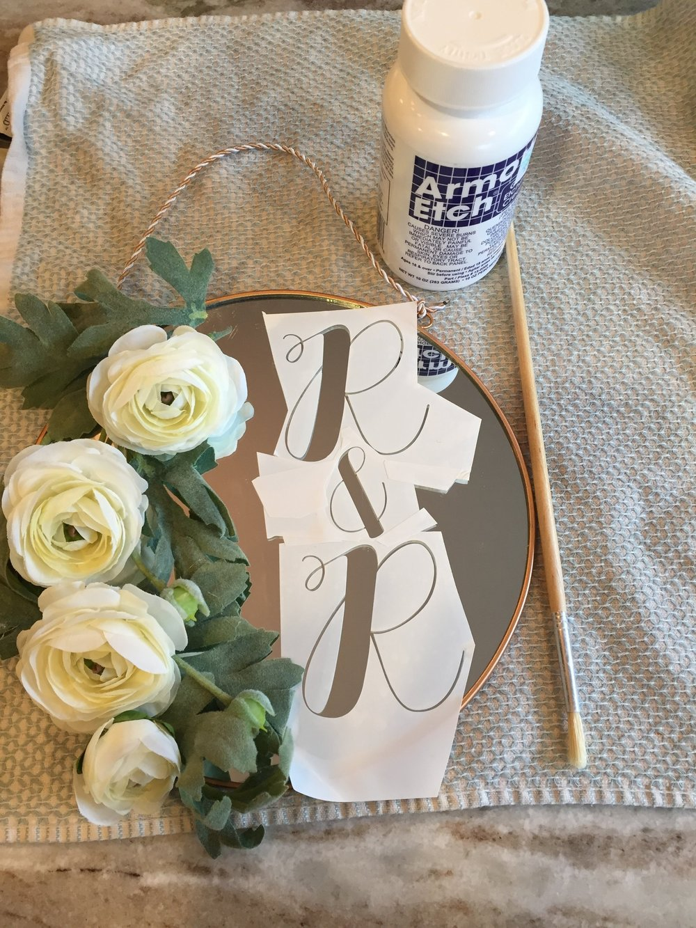 Supplies for custom etched floral mirror