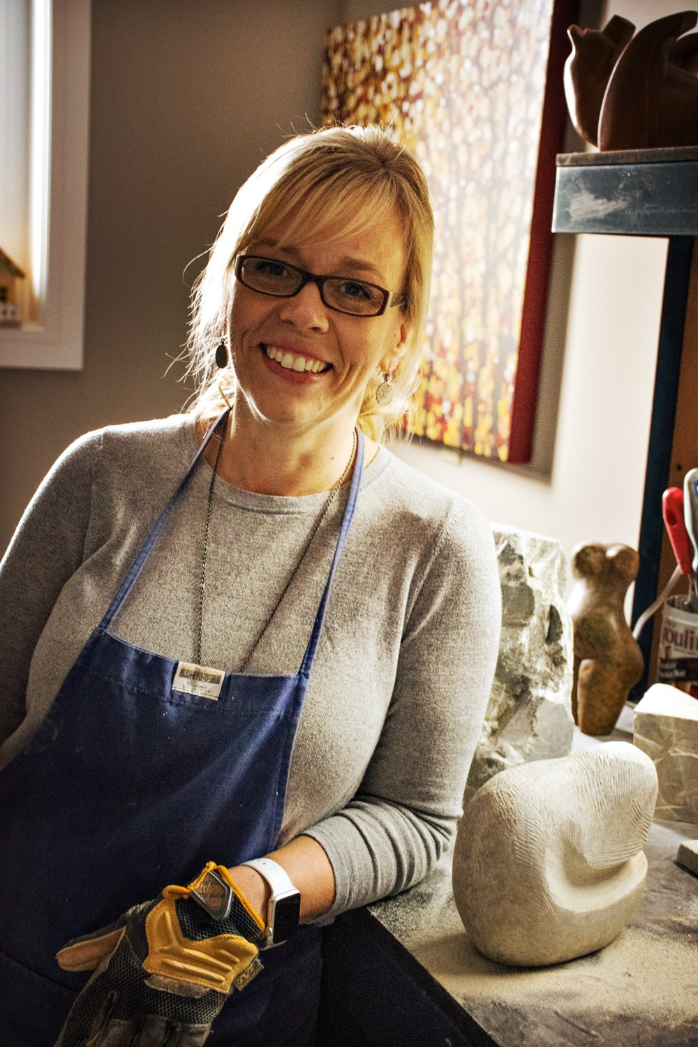 Lisa Douziech in her carving studio.