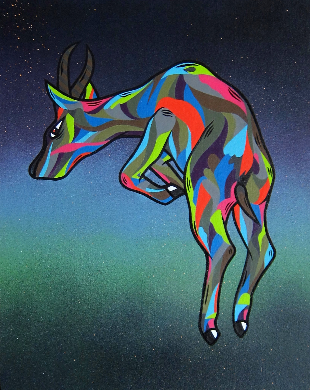 """Constellation Prongking Pronghorn""  Aerosol, Latex and Enamel on Canvas Board"