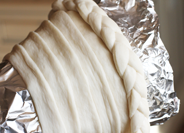 Now just wrap the braid around the top portion so it's your finished edge.