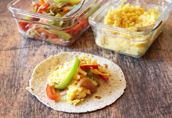 Fill your tortillas. Figure 1 1/2 eggs per tortilla and then whatever else you want to put in with it.