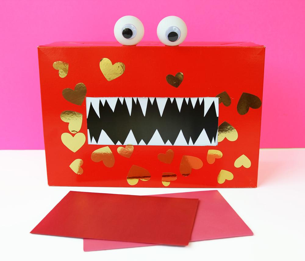 DIY Valentine Monster Mailbox tutorial below .