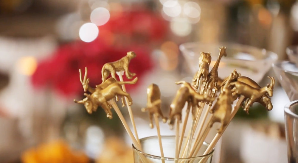 And now you have fancy drink stirrers! If you use plastic drink stirrers you can wash them, but if you use the wooden skewers like this and want to reuse the animals just pop them all off before you throw out the used wooden skewers and then you can re-attach the animals again.