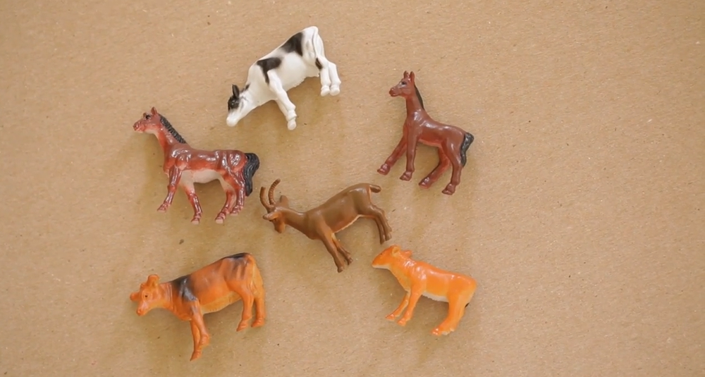 Lay down a piece of cardboard or newspaper so you can spray paint your animals. Lay all the animals on their sides a couple inches apart.