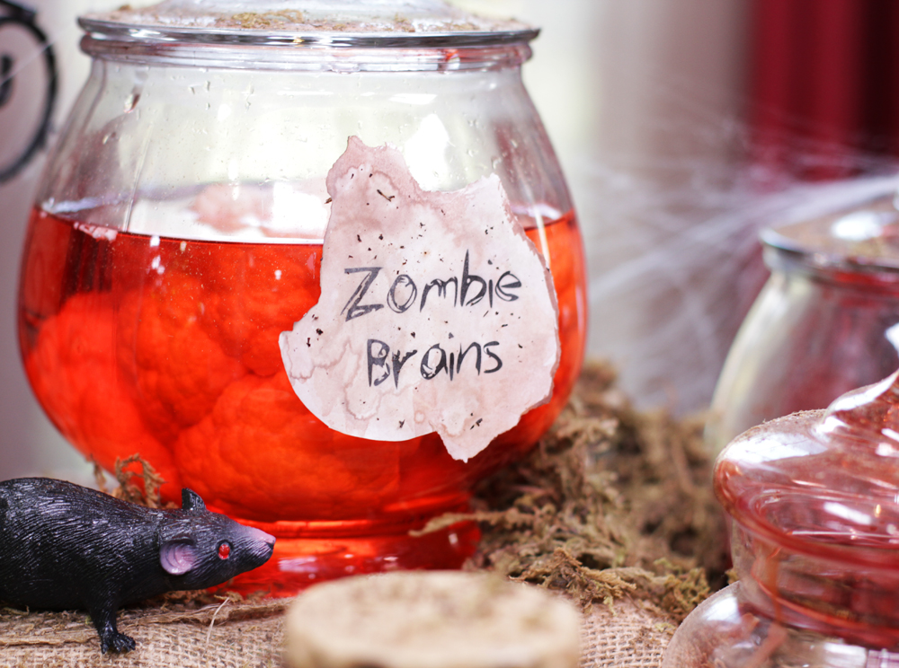 Zombie brains ...... cauliflower and red food coloring of course.