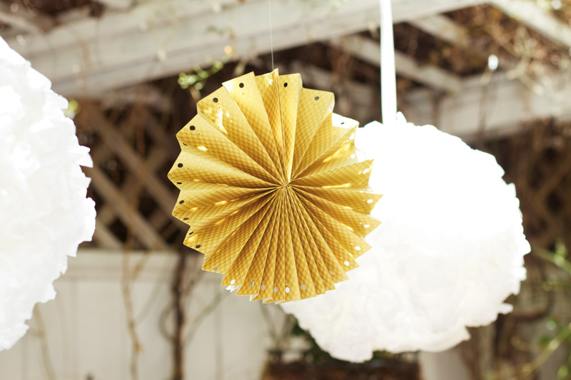 Love! I hung the rosettes with my coffee filter poms.
