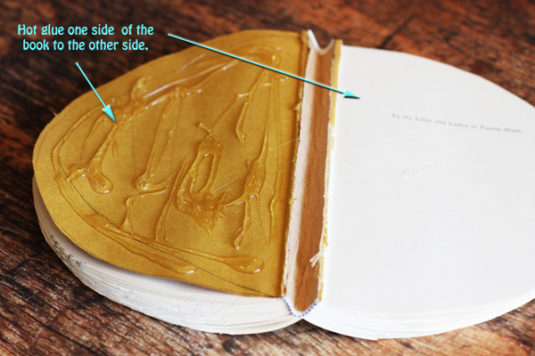 Now it's time to glue the first page of your book to the last page of your book. If you have a particularly long book, you can glue 3 or 4 pages together to ensure it doesn't peel apart.