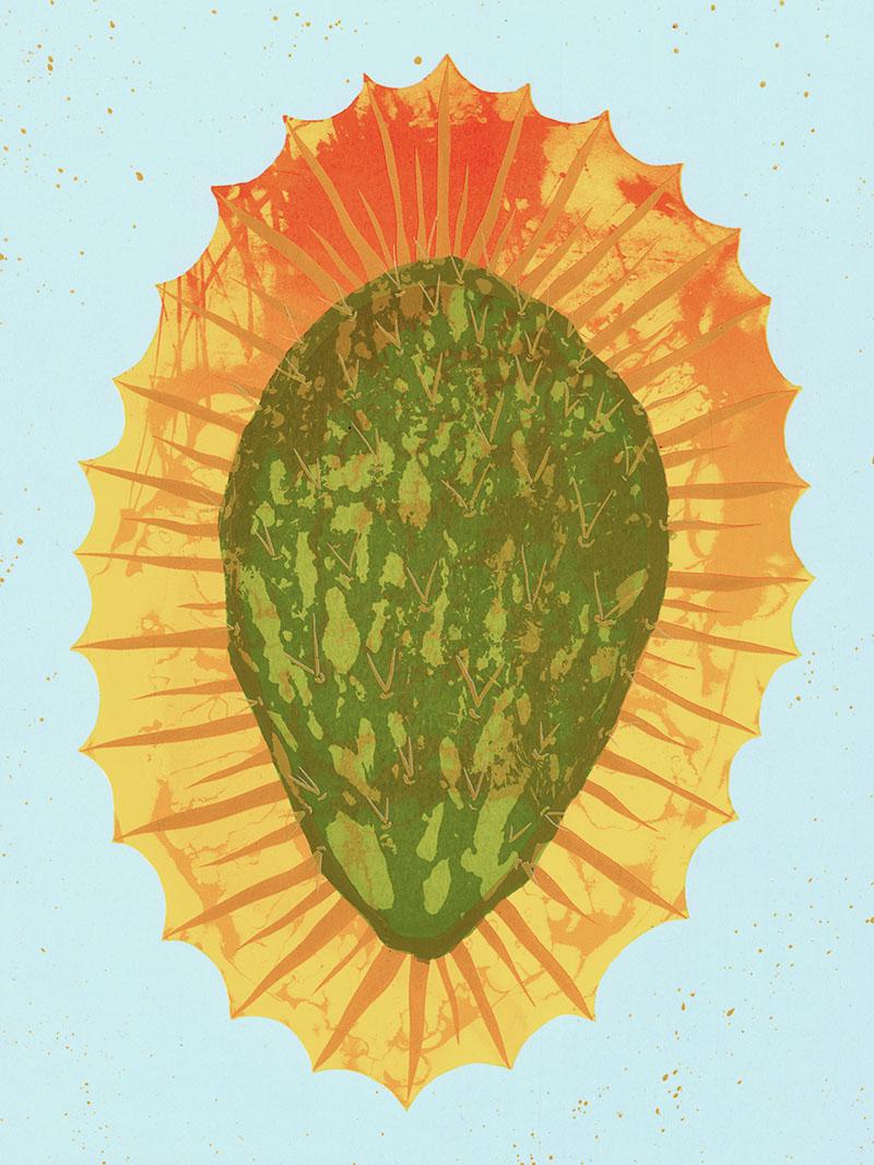"Nopal Sagrado  Silkscreen on paper, 12""x 16"""