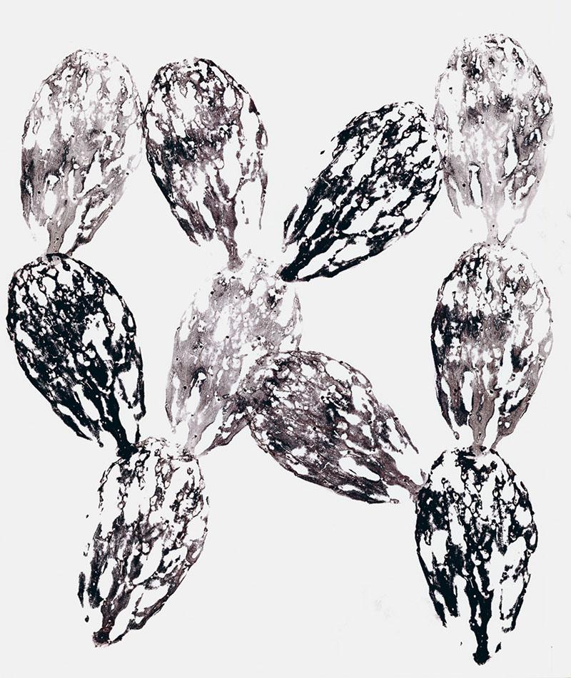 "Nopalito  (2) Cactus Monoprint on paper, 18""x 24"""