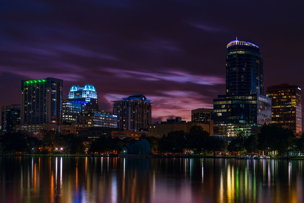 Orlando at Dusk - Another shot of the downtown area at Lake Eola, I managed to capture the last bit of daylight as the city lights came on.