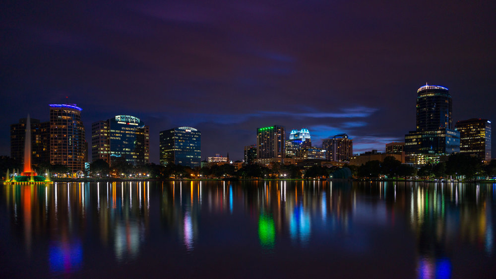 Lake Eola - A view of Lake Eola & downtown Orlando at the end of the day.