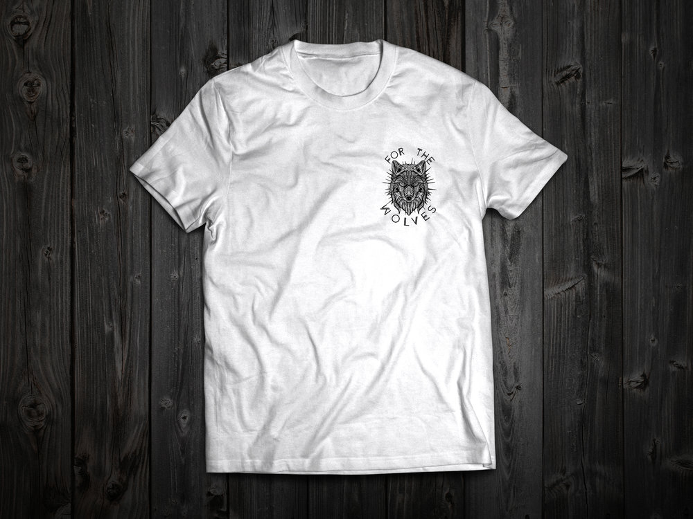 cfcd2b0609a8 Small T Shirt White - Wolf Graphic - Free Shipping — For The Wolves