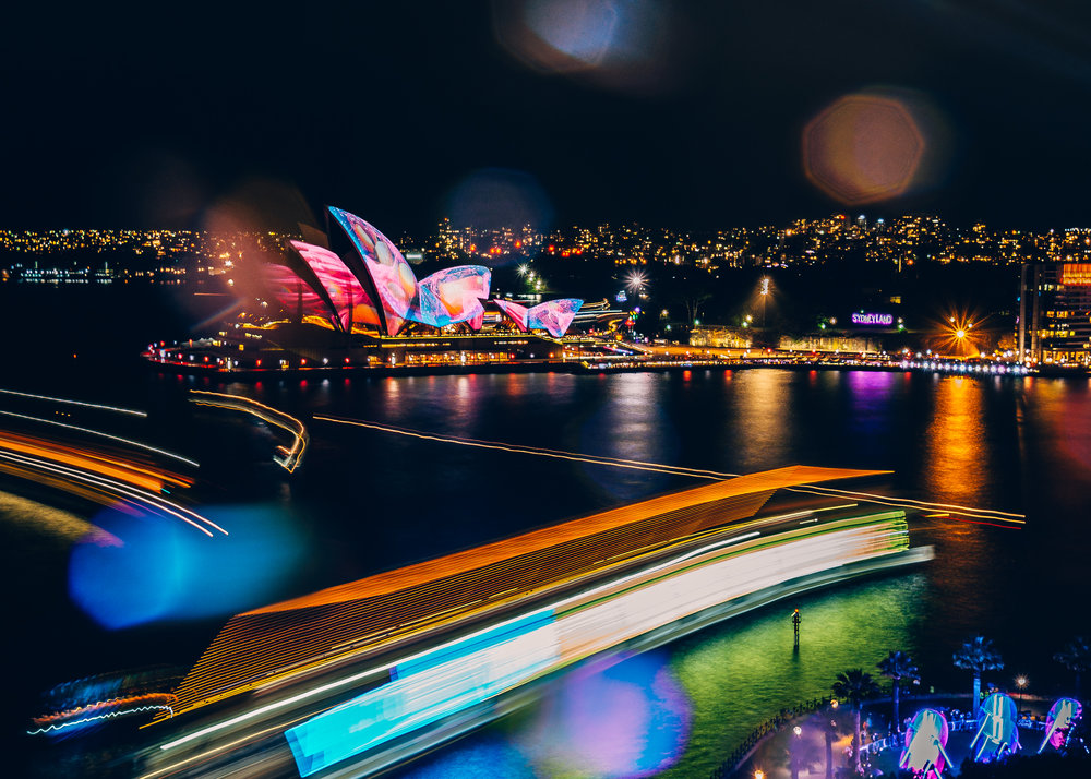 Who's ever been to the  VIVID FESTIVAL  in Sydney? Omg isn't it so beautiful! This particular night I had just learnt how to use the 'Live Composite' mode on my  Olympus OM-D E-M1 MII (I'll be doing a post on this at a later date) and we were on the Harbour Bridge in the hammering rain, eating takeaway Thai, having the best time ever! I love how imperfect all the raindrops and boats light trails are.