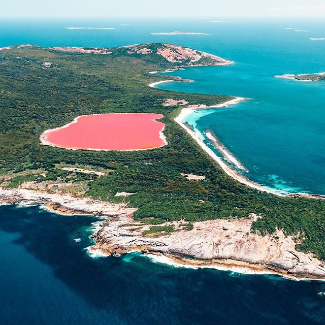 Hey lovelies! 🙂👋 Some of you might remember the pic from this extraordinary place that I shared a few weeks ago, and I was just thinking, oooohhh I should show you all a full version of this 'pink lake'! So here it is! 🙌🏼💗 Lake Hillier on Middle Island 💕💗 Isn't it incredible!  Not even kidding that it's seriously that pink! I lost my mind when I saw it!! 🙈😝🙌😂 So. Who can back me up?! Who else has seen a pink lake or maybe you've even seen this one?? @westernaustralia #justanotherdayinwa