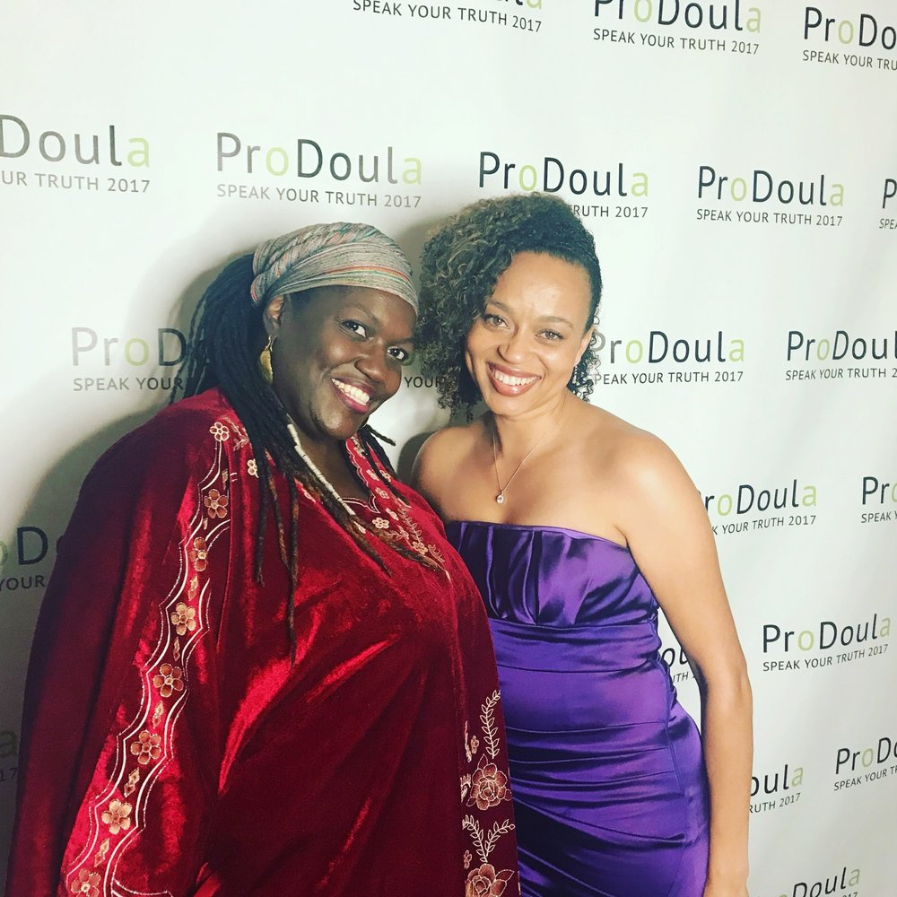 """Andrea Little Mason & I at ProDoula's """"Speak Your Truth"""" 2017 Conference."""