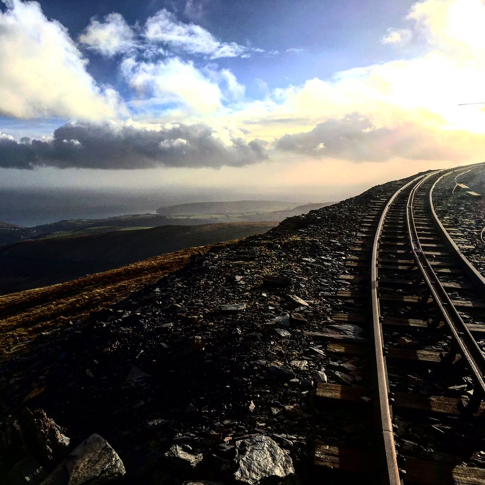 The railroad to nowhere near the top of Snaefell.