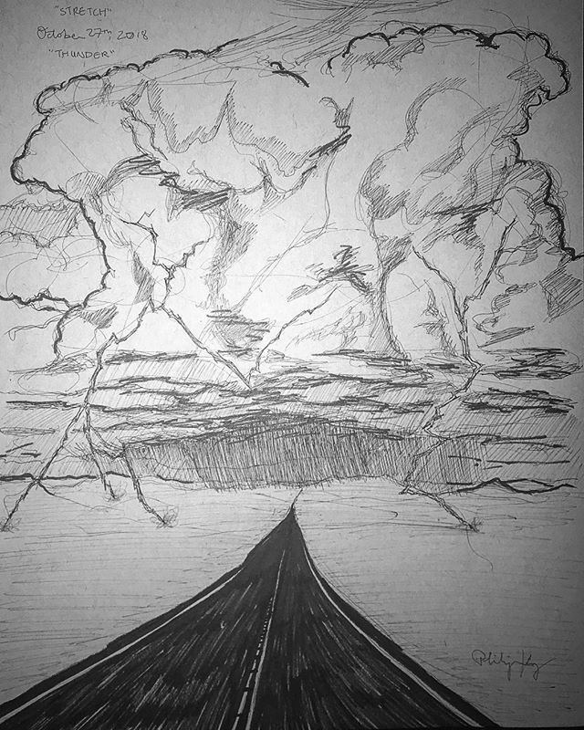 I combined the prompts for days 26 & 27 into one image! The words were Stretch and Thunder. • Incidentally, while I drew this, a thunderstorm passed over my town. Sweet serendipity. Thunderstorms are my favorite weather. We don't get enough of them in the Pacific Northwest. • In the deserts of the American Southwest, the roads stretch for miles and look the same whether you're watching the horizon in front of you, or looking back at where you came from. During the rainy season, giant clouds will appear out of nowhere and dump hundreds of thousands of gallons of water and create an impenetrable veil of rain. It's pure majesty. Truly sublime. Love it. • This took about an hour. • • #Inktober #inktober2018 #drawing #illustration #architecture #artistsonig #artstagram #gayart #comics #comix #comicartist #originalcomics #homage #desert #ode #visualode #raincloud #cumulonimbus #stretch #rain #desertrainstorm #thunder #thunderstorm #thunderhead #landscape