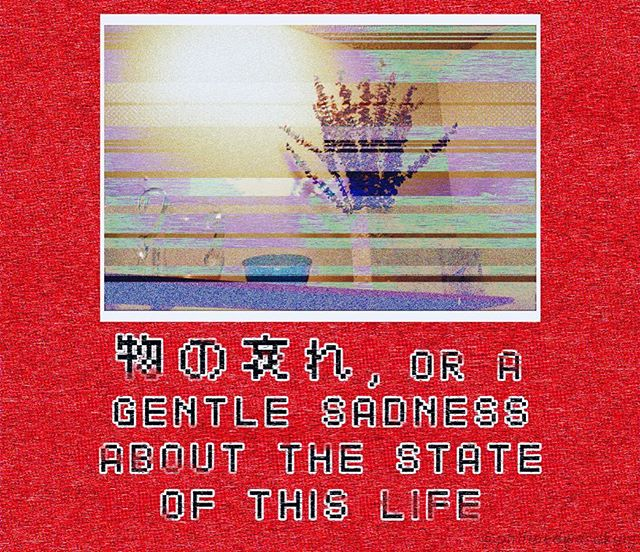"🧠⏳ 🏺⚰️ ⚛️⚱ ️🌀🔮 • Image description: ""物の哀れ, OR A GENTLE SADNESS ABOUT THE STATE OF THIS LIFE"" in pixelated text beneath a framed image of vessels on a wall-mounted wooden shelf. From right to left: a round, clear glass vase, a square, white porcelain vase, a cobalt-blue glass bowl, and a clear glass pitcher. Only the square vase contains anything: a bundle of dried eucalyptus stems. The picture has been manipulated to resemble a glitched VHS recording on a standard definition television set. The background is colored a rich red like roses. • • • • #instagrampoetry #poetry #poem #poet #queerpoet #photomanipulation #VHS #lofi #retro #technomancy #process #posthumanism #queerart #queerphoto #queerphotographer #gayart #instagay #instapoetry #pdxart #philosophy #photo #eucalyptus #mononoaware #物の哀れ #vaporwave #sadboihours #depression #memeart #sadness #life"