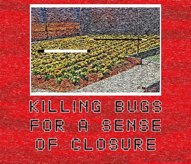 "🌼🌿 🔳🔲 🌞🐞 🦗🏵 • Image description: ""KILLING BUGS FOR A SENSE OF CLOSURE"" in pixelated text beneath a framed image of a patch of yellow flowers ringed by a sidewalk. An old wall parallels the sidewalk. Two rectangular interventions hover in space, bands of black and white. The picture has been manipulated to resemble a glitched VHS recording on a standard definition television set. The background is colored a rich red like ladybugs. • • • • #instagrampoetry #poetry #poem #poet #queerpoet #photomanipulation #VHS #lofi #retro #technomancy #process #posthumanism #queerart #queerphoto #queerphotographer #gayart #instagay #instapoetry #pdxart #philosophy #photo #bugs #squashingbugs #entomophobia #Malta"