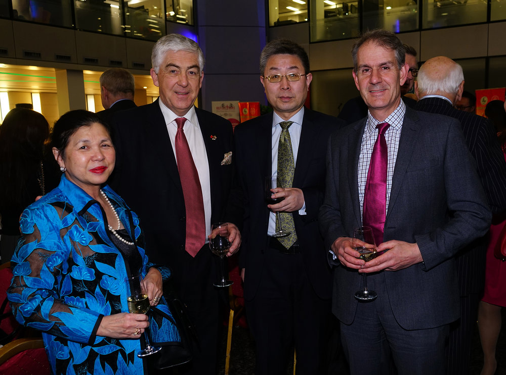 Mei Sim Lai OBE, John McLean OBE, Minister Ma Hui and Simon Wood at the IoD Chinese New Year of the Dog Celebration.